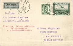 "(Belgium) First Belgium acceptance for the Sudan via the Imperial Airways inaugural London- Khartoum-Kano service, Brussels to El Fasher (Sudan), bs 15/2, via Paris 9/2 and Khartoum 14/2, Caesar Capouillez cover franked 2F 35, canc Arlon 8/2, violet two line ""Via Londres-Khartoum/Imperial Airways"" flight cachet. Very little notice was given for this fight, so these covers are very scarce, see Jennekins & Godinas, 1969, p63. A superb item in pristine condition."