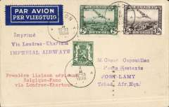 "(Belgium) Belgium acceptance for the Imperial Airways inaugural London- Khartoum-Kano service, Brussels to Fort Lamy (Tchad), bs 16/2, via Paris 9/2 and Khartoum 14/2, Caesar Capouillez cover franked 3F75, canc Arlon 8/2, violet two line ""Via Londres-Khartoum/Imperial Airways"" flight cachet. Very little notice was given for this fight, so these covers are very scarce, see Jennekins & Godinas, 1969, p63. A superb item in pristine condition."