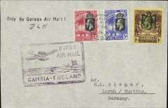 """(Gambia) Gambia to Germany, first official acceptance of mail from Gambia for carriage via the German air service, Bathurst to Lorch, bs 13/11,  carried on the German trans Atlantic catapult service flight L 34 from Brazil to Germany, plain cover addressed to HR Seiger, franked KGV 1/-, 3d, 1 1/2d canc Bathurst cds, ms ' D.L.H.', nice strike black straigh line """"Only By German Air Mail"""" hs, special purple/black framed """"First Airmail/Gambia-England"""" wth plane overhead hand stamp cut out of linoleum by an offical of the Gambia PO.  Francis Field authentication hs verso."""