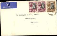 (Gambia) Gambia to Great Britain, carried on the German air service, Bathurst to London, no arrival ds, carried on the German trans Atlantic catapult service flight L 222 from Brazil to Germany, plain airmail etiquette cover, franked KGV 6d x2, 1d, canc Bathurst cds, ms 'D.L.H.'