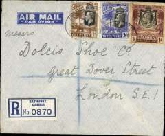 (Gambia) Gambia to Great Britain, carried on the German air service, Bathurst to London, no arrival ds, registered (label) imprint etiquette airmail cover, addressed to the Dolcis Shoe Company, franked KGV 1/1d + 3d registration, canc Bathurst cds, ms 'D.L.H.'  Likely carried on the Graf Zeppelin shuttle flight G575, when mail was hauled up at Bathurst.