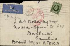 "(GB External) Great Britain to Gambia carried on the German trans Atlantic service, flight L 239, airmail etiquette cover franked 9d to pay the 1/2oz rate, canc London FS 27/7 cds, red circular "" Deutsche Luftpost/Europa-Sud Amerika"" cachet. Minor top edge damage.."