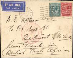 "(GB External) First official acceptance of mail from Great Britain for Gambia for carriage via the German air service, London to Bathurst, bs 30/7, via Stuttgart 28/7, carried on the German trans Atlantic catapult service flight L 19 from Germany to Germany to Brazil, airmail etiquette cover franked 11d, canc London FS 27/7 cds, nice strike red circular "" Deutsche Luftpost/Europa-Sud Amerika"" cachet."