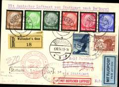 """(Gambia) First official acceptance of mail for Gambia from Austria for carriage via the German air service, and return via Graf Zeppelin, Graz to Bathurst, bs 8/10, via Stuttgart 6/10,  registered (label) card franked 1S 20g Austrian stamps, canc Graz 4/X/34 cds, and 59pf German stamps canc 5/10/34 cds, fine strike red circular """" Deutsche Luftpost/Europa-Sud Amerika"""" cachet, red/white 'Mit Deutscher Luftpost and pale blue/black airmail etiquettes. Returned to sender via Graf Zeppelin on 14/12/34 over the revised Christmas route via Seville, oval """"Registered/14 De 34/GPO Gambia"""" postmark on front tying the """" Deutsche Luftpost/Europa-Sud Amerika"""" cachet, the red/white 'Mit Deutscher Luftpost etiquette and a black framed 'Return to Sender' hs. A great item in pristine condition."""