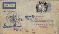 """(France) Early World War II censored LATI commercial air cover to Germany, Baade & Baade airmail corner cover, franked 5400R canc Porto Alegre cds, printed """"Via (ms) LATI"""" typed endorsement """", Maubeuge double circle Period 1 """"Controle Postal Militaire/Admission WN"""", sealed Brazil brown/black S.P Censura censor tape with coat of arms, tied by violet Brazil two line """"5 Censura/****** Do Sul censor mark verso, blue two line """"Retour/A L'Envoyeur"""" hs on front. Intended for carriage by LATI but was sent, instead, via Transatlantic Clipper to France  where it was censored at Maubeuge on the French-Belgian border, and then returned to sender. Upon the French declaration of war against Germany on 3/9/39 Air France ceased all flights to Germany. So, on reaching Maubeuge, this cover could go no further and was returned to Brazil.  For this reason  Maubeuge mail is much sought after."""