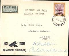 (Sudan) Imperial Airways, scarce F/F Khartoum to Luxor, bs 14/3, carried on return of inaugural London to East Africa service, plain airmail etiquette civer franked 2P, black Juba-London biplane cachet. By far the scarcest leg of the 1931 London-Mwanza-London service.