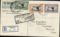 "(Sudan) First acceptance of mail from Sudan for India, Malakal to Calcutta, bs 10/7, via Cairo 28/6 and Karachi, carried on Imperial Airways F/F Karachi to Calcutta extension, black boxed rectangular ""Karachi-Calcutta/7 Jul 33"" arrival cachet on front, plain registered (label) souvenir cover, franked 10 1/2mls, Imperial Airways/Indian Trans-Continental Airways. Scarce."