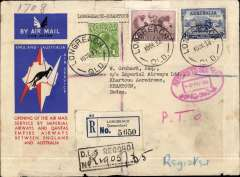 (Australia) First acceptance of mail for the Sudan, Longreach to Khartoum, bs 23/12, via Darwin 12/12 and Cairo 22/12, carried on first regular Imperial Airways/Qantas Australia-England service, registered (label) souvenir blue/grey 'Kangaroo' company cover, franked 1/10d, canc Longreach 10/12 cds.