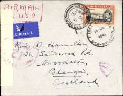 "(Nigeria) American Air mail Service, First Flight Nigeria to England via the all air Pan Am FAM 22 West Africa-Brazil-Miami-Lagos-Bathurst service, Lagos to Bournemouth, imprint etiquette cover, correctly rated 5/- for Gold Coast-UK mail, ms ""Air Mail/via USA"", sealed black/white Nigeria censor tape, tied by Nigeria red pentagonal 'Censor/12 censor mark, also red Nigeria 'L/7' in triangle censor mark. Carried by Pan Am 'all the way', first E-W on the new FAM 22 service, then W-E to Lisbon on FAM 18, then BOAC/KLM to London. Crossed the Atlantic twice by air. Service discontinued in March 1942. Similar cover illustrated p131, West African Airmails, The McCaig and Porter Collections, Priddy, B., West Africa Study Circle, 2002.  Part of flap has been neatly excised verso, not visible from front.  Superb wartime item."