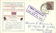 """(India) Alcock & Brown commemorative flight, flown at Dum Dum airport, red/blue/cream souvenir cover franked 1 anna, canc Dum Dum cds, inscribed blue framed """"First Successfull Trans-Atlantic Flight................""""  cachet , boxed purple """"Tenth Anniversary/Flown at/Dum Dum Air Port"""" cachet , signed Stephen Smith 14/6/29 and 14/6/ Park Street/Calcutta/ 14 Jun 29 ds verso. Francis Field authentication hs verso.  Nice item in fine condition."""