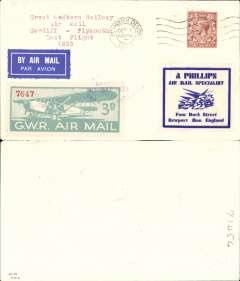 """(GB Internal) Last GWR Air Service, Cardiff to Plymouth, GWR 3d air stamp tied by violet diamond 'Air Mail/Cardiff/30 Sep 1933/Great Western Railway' hs, posted on arrival with 1 1/2d stamp and Plymouth Oct 1st cds, typed """"Great Western Railway/Air Mail/Cardiff to Plymouth/Last Flight/1933"""". Mail addressed to Plymouth was flown back to Cardiff and sent by rail as plane could not land at Plymouth because of fog. See British Air Mails #353/89b, p155. Uncommon."""