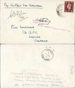 (GB Internal) Allied Airways (Gandar Dower) Ltd, F/F Kirkwall to Lerwick, bs 25/11, via Inverness and Aberdeen, plain cover franked 1 1/2d canc Kirkwall 12pm 24 Nov 37, signed by pilots of both Highland Airways and Allied irways, Capt. EG Starling above red two line 'Chief Pilot/Allied Airways (Gandar Dower) Ltd, and Capt. CB Wilson. Scarce.