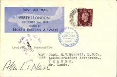 """(GB Internal) North Eastern Airways F/F Perth ( 8am) to Newcastle, RECD 3 Oct 1938 clock face receiver showing 10am, confirming arrival by air, also typed """"arrived at Newcastle 9-55"""", plain cover franked 1 1/2d, Perth-London company vignette tied by blue double ring company cachet, signed by the pilot Capt Alan L.T. Naish who flew the  Perth-Newcastle leg.   This item meets Redgrave's criteria for a flown cover.  Scarce."""