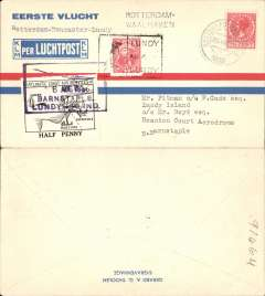 (Lundy Island) Incoming to Lundy Island from the Netherlands, red/blue/cream KLM company cover franked 7 1/2 cent, canc Rotterdam cds.  On arrival in UK cover flown from the North Devon Aerodrome, Braunton to Lundy, on arrival correctly rated 1/2d Puffin local stamp canc Aug 5 36 black rectangular hs, and 2nd issue Lundy Atlantic Coast Air Services 1/2d air stamp, canc violet boxed ' 6 Aug 1936/Barnstaple/Lundy Island' air cancellation. This is a nice exhibit item for the Lundy or Netherland specialist with the following unusual features - 1.Uncommon origin/destination, and 2. Correctly rated and genuinely flown into Lundy by private air post, operating quite independantly of GBPO.