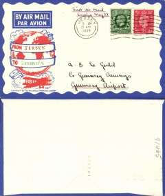 (Channel Is) F/F Inter-Island airmail, Jersey to Guernsey, no arrival ds, Philatelic Magazine cover franked 1 1/2d, canc 'Jersey/5 am/22 May 1939'. Flown covers are definitely rare, and bear the Jersey postmark of 5am, see Red grove pp103,104. Nice item in fine condition.