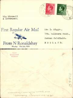 """(GB Internal) Scottish Airways, North Ronaldshay Regular Airmail, F/F North Ronaldshay to Kirkwall, no arrival ds, and on to Inverness and Sutton Coldfield, uncommon Francis Field blue/ivory souvenir cover with imprint of monoplane and """"First Regular Airmail/To N Ronaldshay/Monday 31st July, 1939"""", franked 1 1/2d, type 'via Kirkwall and Inverness'.  Francis Field authentication hs verso."""