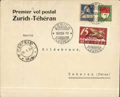 "(Switzerland) Mittelholzer, early pioneer flight, Zurich to Tehran, 31/1/25 arrival ds on front, souvenir ""Premier vol postal/Zurich-Tehran"" cover franked 55c. Faint vertical crease 2.50cm from lh edge."
