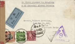 "(China) China to India, WWII double censored cover, Shanghai to Calcutta, bs 21/10, via Hong Kong, Victoria 12/10 transit cds, commercial cover franked $180, canc fine strikes 'Shanghai' bilingual postmarks, black/pale blue bilingual airmail etiquette tied by brown/red India OBE 'crown' censor tape, also India double triangle 'censor 13' and Hong Kong triangular purple 'Passed/Censor 9' censor marks, typed ""By First Steamer to Hong Kong/& by Imperial Airway service"".Chinese airmail from coastal cities of South China was carried by ship to Singapore, then IAW/BOAC for air transport. A nice WWII item in fine condition."