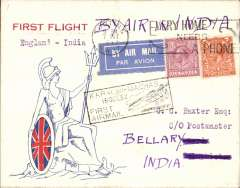 "(GB External) F/F London to Bellary, bs 16/10, after TATA take over mails from IAW for Karachi-Madras route,  red/white/blue 'Indian State Air  Service' cover, franked 8d, black 'Karachi to Madras/15 Oct 32/ First Airmail' cachet, printed ""First Flight/England-India/ms By Air in India"" hs, flown by Neville Vincent."