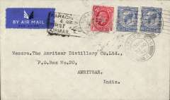 (GB External) London to Amritsar, bs 8/12, carried on the first Imperial Airways flight to connect with the India National Airways first Karachi-Lahore feeder service (IAW service # IE297, see Wingent p126), commercial non philatelic cover franked 6d, black 'Karachi-Lahore/6 Dec 34/ First Airmail' cachet. A nice one for the exhibit, and in fine condition.	£50.00