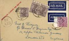 """(India) Bombay to London, no arrival ds, flown by the Marseilles to London Air Service, buff cover franked 5 anna, circular """"By Air"""" cachet, two dark blue/white airmail etiquettes rated scarce by Mair, fine strike red straight line """"Marseilles-London Air Service"""". If not the first, then likely the second flight by this route. The postage rate is too low for carriage also by the Basrah-Cairo service, so likely by sea to Marseilles. An uncommon item in fine condition."""