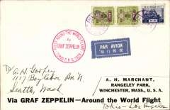 (Airship) LZ 127, Round the World flight, Tokyo to Los Angeles, bs Aug 26 1929, printed souvenir cover 'Via Graf Zeppelin - Around the World Flight', franked 12 Yen, red circular Japan flight confirmation cachet. Scarce item in fine condition.