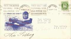 (United States) Solberg amphibian flight, New York to Bergen, Norway, red/white/blue souvenir cover with icture of plane, cancelled on arrival in Bergen, franked 7 ore Norway stamp canc 'Bergen/16 VIII 35' machine cancel, signed by Thor Solberg.