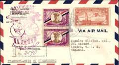 "(Airship) Dominican Republic acceptance for return of LZ129 Hindenburg, 1st North America flight, Lakehurst to Germany, b/s Frankfurt (Main) 14/5, franked $1.20 canc Trujillo cds, violet US Lakehurst-Frankfurt flight confirmation mark, typed endorsement ""Transatlantic by  Hindenburg"". Uncommon acceptance, only 10 flown. Catalogued 1250 Euros Sieger (2001)."