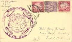 (Airship) LZ 127, Round the World flight, Los Angeles to Friedrichshafen, bs 4/9, buff card franked 90c, large violet flight confirmation cachet, Si 29B (85 Euro).