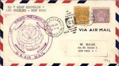 (Airship) LZ 127, Round the World flight, Los Angeles to Lakehurst, bs US green Aug 29 'Zeppelin' arrival ds, airmail cover franked 60c, large circular violet flight confirmation cachet, Si 29A (75 Euro).