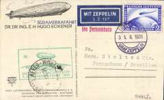 "(Airship) First South America Flight, Germany to Pernambuco, arrival ds on front tying green Pernambuco fight confirmation cachet, Eckener souvenir PC frnked 2Rm (Stanley Gibbons number 447 catalogue £47), On Board cancellation 31/8, red ""bis Pernambuco"" hs, dark blue/white ""Mit Zeppelin/LZ 127"" etiquette. Si 124Bb."