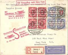 "(Danzig) Danzig acceptance for German North Atlantic Catapult Service to New York, bs 27/5, registered (label) cover franked 1928 20pf x4, 25pf and 35pf x3 (Stanley Gibbons numbers 213, 214, and 216. Stamps alone catalogue £234), canc 'Danzig/20.5.31/Luftpost' dr oval ds, red ""Deutscher Schleuderflug/27. Mai 1931/ Dampfer 'Europa'-New York"" flight cachet, red  ""Mit Luftpost/zum D. 'Bremen'/Befordert"" Koln-Cherbourg supplementary flight cachet, and 'Mit Vorausflug nach New York' directional cachet. Only 5 flown from Danzig. A rare item in fine condition."