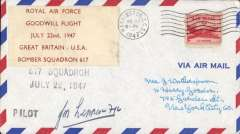 "(Newfoundland) Dambusters RAF Bomber Squadron 617, Goodwill tour USA/Canada, Gander, Newfoundland to Andrews Filed airforce base, Wotherspooon cover franked 5c canc Washington DC 23 cds, tying red/white label ""Royal Air Force/Goodwill Flight/July 22nd, 1947/Great Britain-USA/Bomber Squadron 617"", signed by the pilot. Rare, only 20 flown."