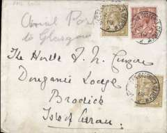 """(GB Internal) Scarce Railway Strike Mail, London to Glasgow, and on to Isle of Arran, no arrival ds, plain cover correctly rated 2/1 1/2d (inc air fee of 2/-), canc 'Western District Office/2 Oct/19', ms """"Aerial Post/To Glasgow""""."""