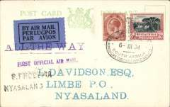 "(South Africa) Acceptance of mail from the Royal Train for the F/F RANA from Southern Rhodesia to Nyasaland, bs 'Blantyre 9 Mar 34 3pm' and 'Limbe 9 Mar 34 4.30pm', Bechuanaland PC franked  4 1/2d South Africa stamps, canc black oval bilingual 'Royal Tour HRH Prince George/6-II 34/South Africa"" postmark, black/dark blue airmail etiquette tied by violet two line ""All The Way/First Officia Air Mail"" and black two line ""S.Rhodesia/Nyasaland"" cachets. Scarce item in pristine condition."