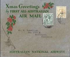 "(GB External) Kingsford Smith's return flight, England to Australia,"" All the Way"" Christmas and New Year flight, London to Melbourne, bs 22/1/32, grey/red/green ""Xmas Greetings"" Australia National Airways souvenir cover, correctly rated 1/4d, canc London FS/Air Mail cds. Signed by Captain G.U.Allan. Some even toning front and back, see scan."