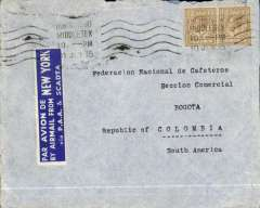 "(GB External) London to Bogota, Colombia, bs 22/7, corectly rated 2/- for carriage 1/2 oz by surface to New York then OAT Pan Am/SCADTA, see Proud p235. Cover bears super blue/white etiquette ""Par Avion de/By Airmail from/New York/via PAA & SCADTA"" rated rare by Mair. Route advertise in GB as taking 13 days - so a very accurate prediction. Some flap damage - see scan."