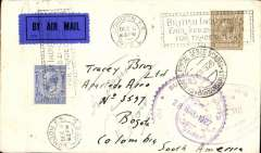 "(GB External) First acceptance of British mail under the single cover system and franchised by British stamps for carriage within Colombia by SCADTA,  London to Bogota, black ' Servicio Postal Aereo SCADTA/29.XII.1926/Bogota' arrival cds verso, via Barranquilla, black ' Servicio Postal Aereo SCADTA/27.XII.1926/Barranquilla' arrival cds on front. Plain cover correctly franked 2 1/2d overseas rate + 1/- per 1/2 oz SC ADTA fee, canc London FS/Dec 6/1926 cds and 'British Industries Fair' machine cancel, also tying early black/dark blue GB P25 airmail etiquette, and  also violet oval Bureau de Telegraphs/Bogota'  28/12 and 30/12 hs's on front, and green ""Apartado"" hs verso."