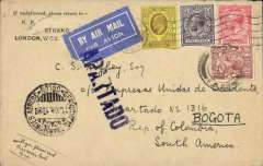 "(GB External) SCATDA acceptance of British mail under the single cover system and franchised by British stamps for carriage within Colombia, London to Bogota, black 'Servicio de Transportes Aereo/13.XII.1928/Bogota' cds  arrival cds verso, via Colon (Panama), black 'Servicio de Transportes Aereo/13.XII.1928/Colon' transit cds on front. Plain cover correctly franked 2 1/2d overseas rate + 1/- per 1/2 oz SCADTA fee, canc London FS cds, also tying early white/dark blue airmail etiquette, also violet ""Apartado"" hs on front. Note - this cover was accepted for transit in Colombia by the SCADTA agency in Panama - which is uncommon - so much so that it has a Francis Field authentication hs verso.."