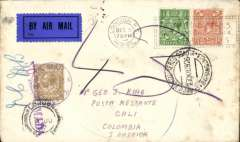 (GB External) First acceptance of British mail under the single cover system and franchised by British stamps for carriage within Colombia by SCADTA, London to Cali, bs 3/1/1927, via Barranquilla  'Servicio Postal Aereo SCADTA/27.XII.1926/Barranquilla' cds on front and Manizales black 'Servicio de Transportes Aereo/30/12/1926 cds verso. Plain cover correctly franked 2 1/2d overseas rate + 1/- per 1/2 oz SCADTA fee, canc London FS/Dec 6/1926 cds and 'British Industries Fair' machine cancel, early black/dark blue GB P25 airmail etiquette. Few tone spots right hand edge.