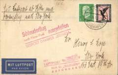 """(Ship to Shore) First 1933 western sailing of SS Bremen, airmail etiquette cover franked 1M5pf, flown by feeder flight to Cologne and canc Koln Flughafen on 14th May, red pictorial """"Mit Luftpost Zum D'Bremen Befordert"""" Koln-Cherbourg supplementary cachet. The flight was cancelled due to engine trouble so the cover also bears the red """"Schleuderflug/nach New York Ausgefallen/Seepost Dampfer Bremen"""" cancellation cachet. Scarce with the supplementary and cancellation cachets."""