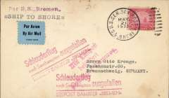 """(Ship to Shore) First 1933 Eastern sailing of SS Bremen, airmail etiquette cover franked 20c, canc US Seapost cds, addressed to Braunschwieg, bs27/5. The catapult flight was cancelled due to engine trouble so the cover bears the red """"Schleuderflug/nach Southampton Ausgefallen/Seepost Dampfer Bremen"""" cancellation cachet, flown from Bremen to Hannover, red ' Mit Luftpost/befordert/Hannover' arrival mark."""