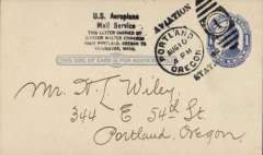 "(United States Internal) U.S. Pioneer flight, Portland, Oregon to Vancouver, Washington Country Club Aviaton Meet, 1c PSC addressed to  N.L.Wiley, with fine strikes ""Portland/Aug 10/4pm/1912/Oregon/Aviation Station"" postmark, and black six line ""U.S. Aeroplane/Mail Service/This letter carried by/aviator Wsxalter Edwards............."". A scarce historical item in pristine condition."