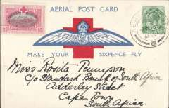 "(South Africa) ""Make Your Sixpence Fly"", large 3 1/2"" wings first Cape flight souvenir PC, with KGV 1/2d canc special 'Aerial Post' datestamp ""AERIAL POST/7 Oct 18/SOUTH / AFRICA"" cds, attractive pale pink/light green 'Red Cross Fund' vignette top lh. corner. Very fine."