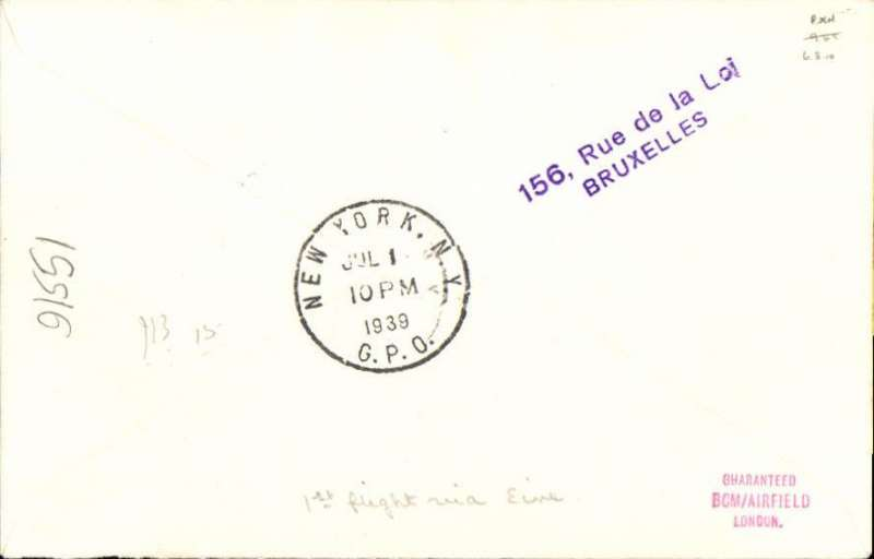 """(Belgium) First Belgium acceptance for New York, bs 1/7, for carriage on Pan American F/F 'Northern' trans Atlantic route. Plain cover franked 5F air + 75c, canc Bruxelles 27/6 cds, typed """"By 1st air mail Southampton New-York"""". Francis Field authentication hs verso."""