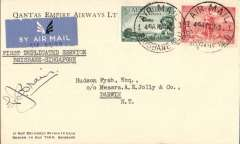 "(Australia) First duplicated service, Brisbane to Darwin, bs 17/5, carried on the first duplicated service from Brisbane to Singapore, Qantas company cover with logo on flap, addressed to Hudson Fysh, franked 5d, canc Brisbane 16/5, typed ""First Duplicated Service from Brisbane to Singapore"", signed by the pilot Lester Brain."
