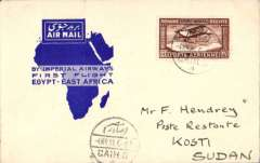 "(Egypt) Imperial Airways F/F Cairo to Kosti, Sudan, bs 8/3,Wadi Halfa, bs 6/3, official blue ""Egypt-East Africa"" map cover, franked 27ml air."