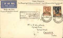 """(Northern Rhodesia) Scarce first acceptance of mail from Northern Rhodesia for carriage on the first Indian service to be extended from Karachi to Calcutta, Broken Hill to Calcutta, bs 9/7, via Cairo 28/6, plain cover franked NR 1/- & 2d, canc Broken Hill 23/6, black framed """"Karachi-Calcutta/7 Jly. 33/First Airmail"""" cachet. Imperial Aiways flights AN20 and IE223"""