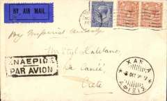 "(GB External) Imperial Airways, temporary acceptance of mails for Crete via London-Karachi service, London to Hania (Crete), bs 8/10, airmail etiquette cover franked 2 1/2d + 4d air fee, ms ""By Imperial Airways. Only 21 flown, Newall 29.23A, 120 units."