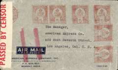 (India) Bombay to Los Angeles, magenta AMEX Co Los Angeles/ Jul 5 1949 receiver verso, airmail corner cover from AMEX Bombay franked 1Re 5 1/2 metre postmark, sealed India red/white PBS 20C censor tape tied by black triangle C11 censor mark. This cover is correctly franked for carriage all the way by air from India to New York. However the red double bar Jusqu'a cancelling further transmission by air was applied in London. Likely explanations are insufficient postage to cover OAT from NY to LA, or no room for airmail freight on FAM18 planes at the time. Interesting.